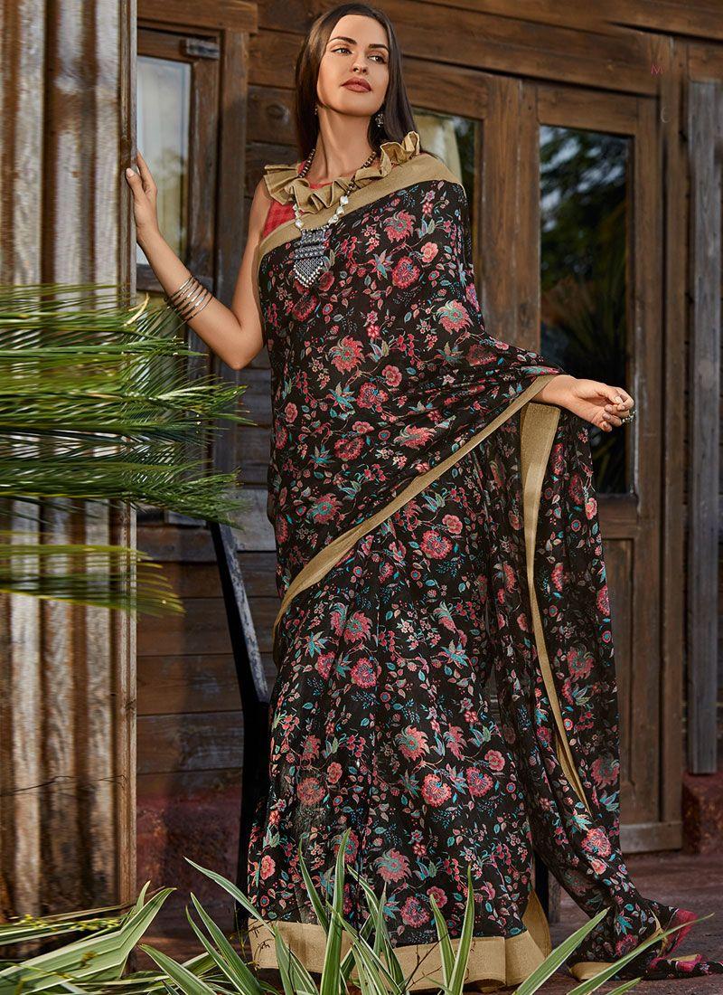 Black Floral Print Mehndi Classic Saree
