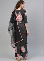 Black Foil print Designer Palazzo Salwar Suit