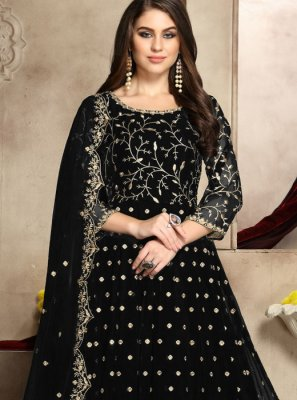 Black Georgette Embroidered Anarkali Salwar Kameez