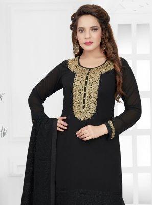 Black Georgette Reception Churidar Salwar Kameez