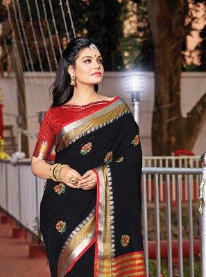 Black Handloom Cotton Weaving Saree