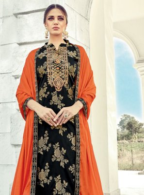 Black Jacquard Designer Suit