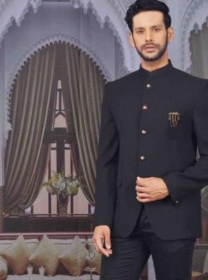 Black Jacquard Printed Coats & Blazers