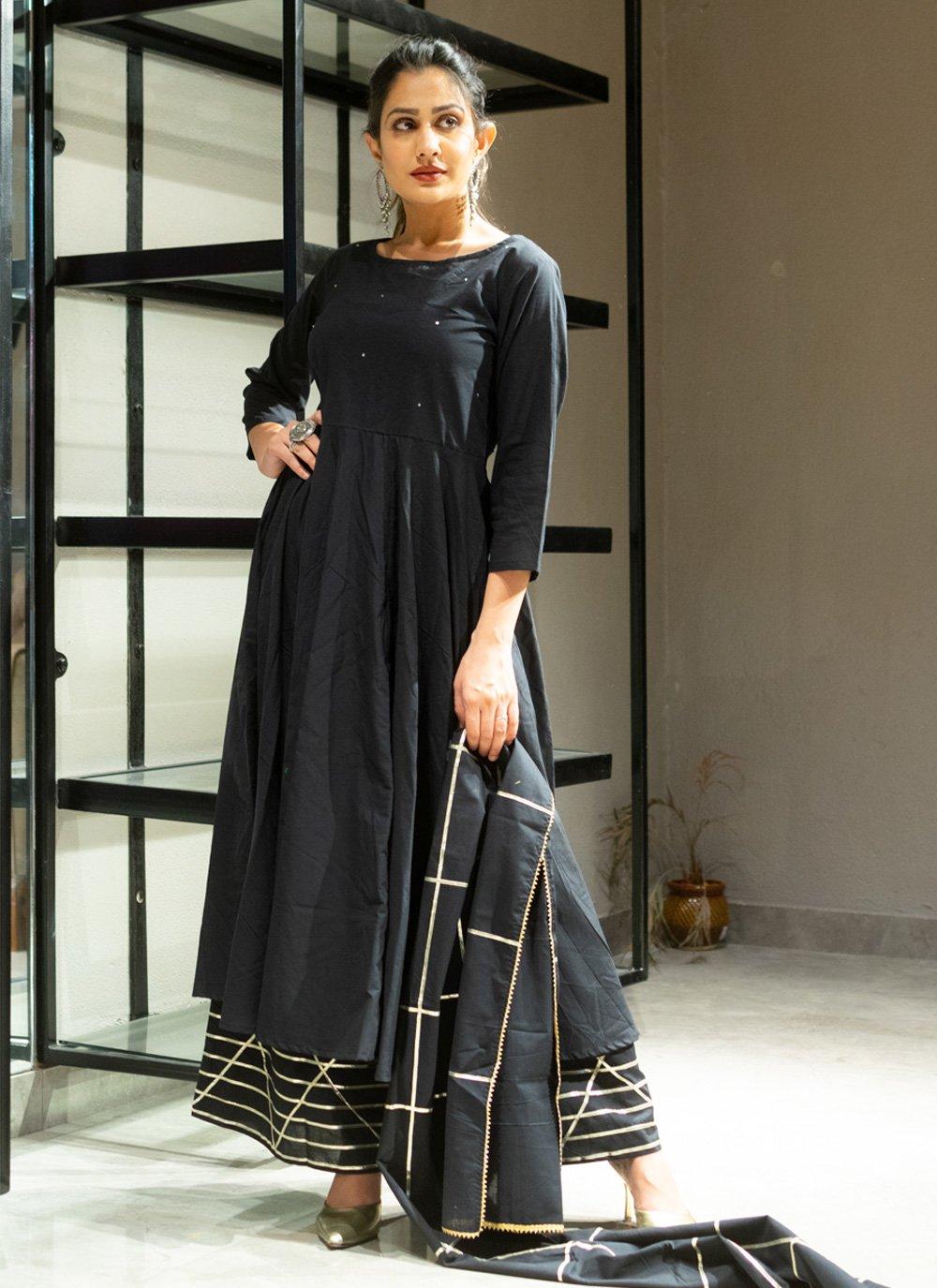 Black Lace Cotton Designer Palazzo Suit