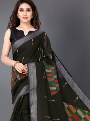 Black Linen Casual Casual Saree