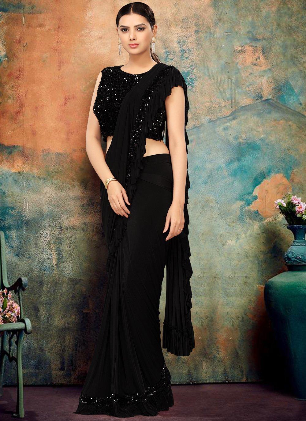 Black Lycra Classic Designer Saree