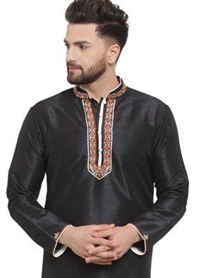 Black Mehndi Art Dupion Silk Kurta