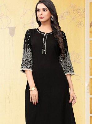 Black Mehndi Designer Kurti