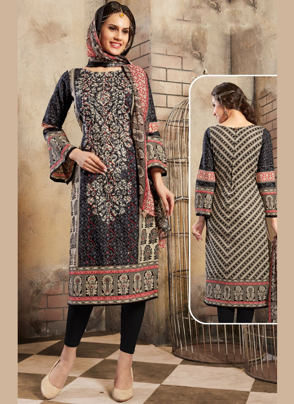 Black Mirror Cotton Trendy Churidar Salwar Suit