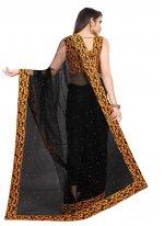 Black Net Lace Designer Saree