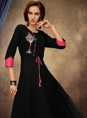 Black Party Casual Kurti
