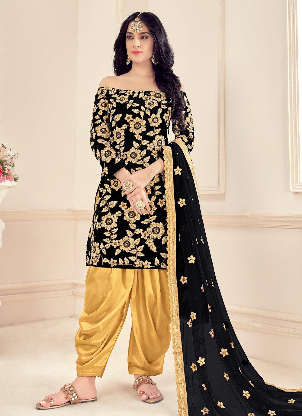 Black Party Designer Patiala Suit