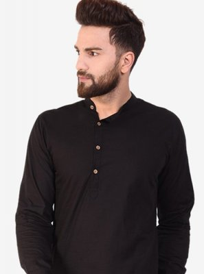Black Plain Cotton Kurta
