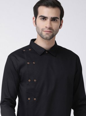 Black Plain Kurta