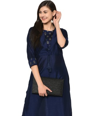 Black Plain Poly Silk Casual Kurti