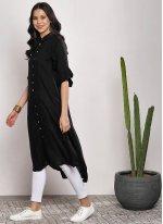 Black Plain Rayon Party Wear Kurti