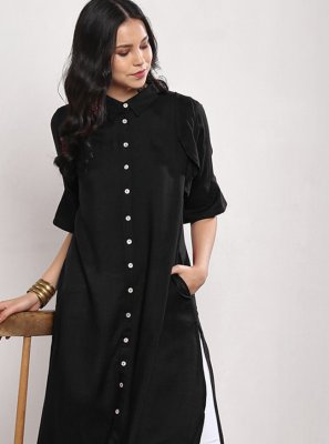 Black Plain Rayon Party Wear Kurti