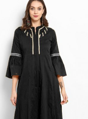 Black Plain Salwar Kameez