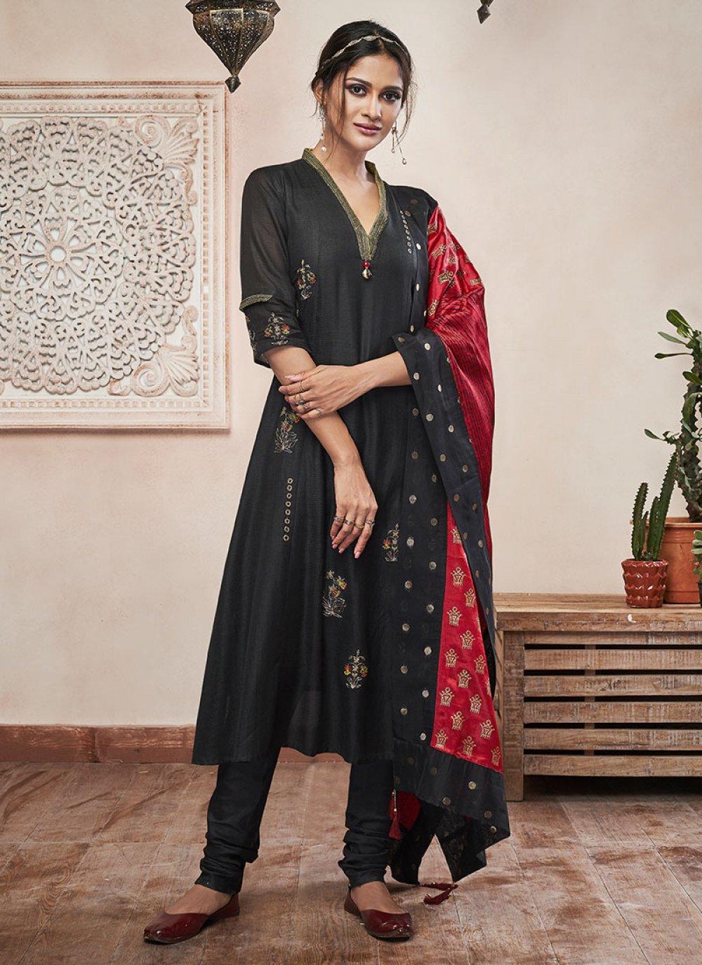 Black Plain Sangeet Churidar Salwar Suit