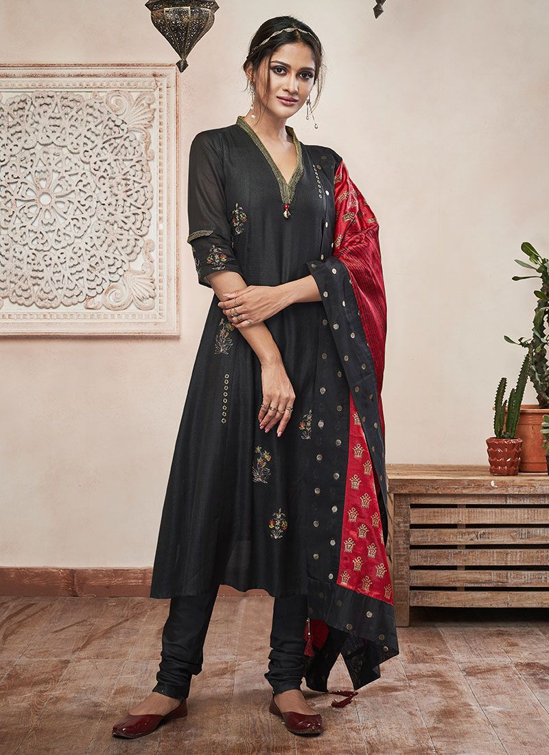 Black Plain Sangeet Churidar Salwar Suit