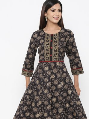 Black Print Cotton Party Wear Kurti