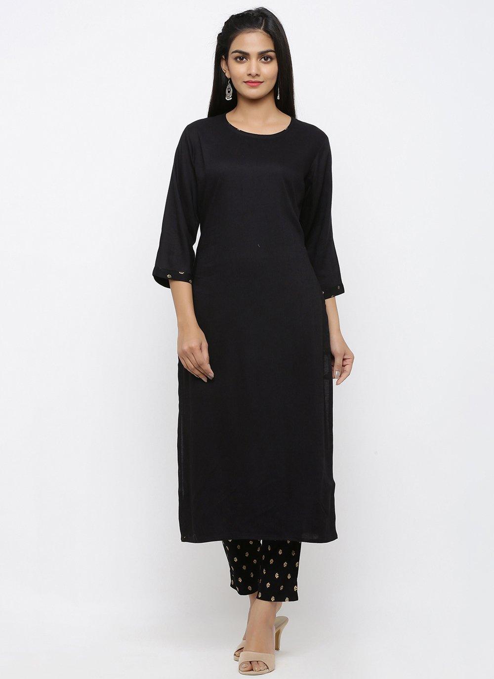 Black Print Rayon Salwar Suit