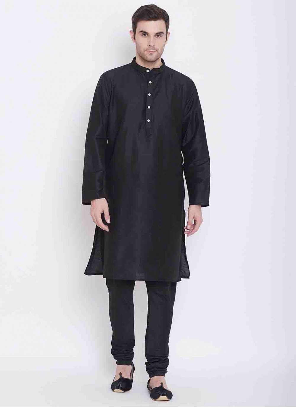 Black Printed Art Silk Kurta Pyjama