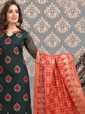 Black Printed Casual Churidar Salwar Suit