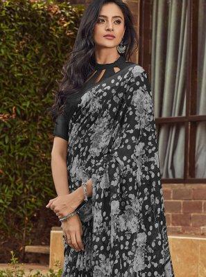 Black Printed Casual Designer Saree