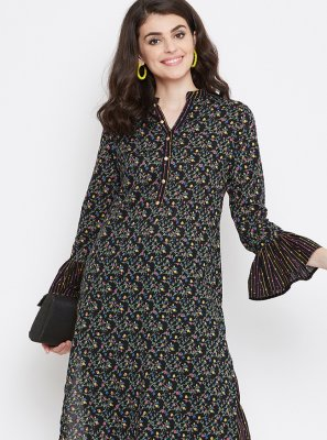 Black Printed Cotton Casual Kurti