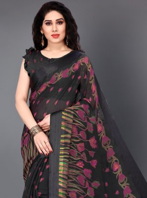 Black Printed Cotton Casual Saree