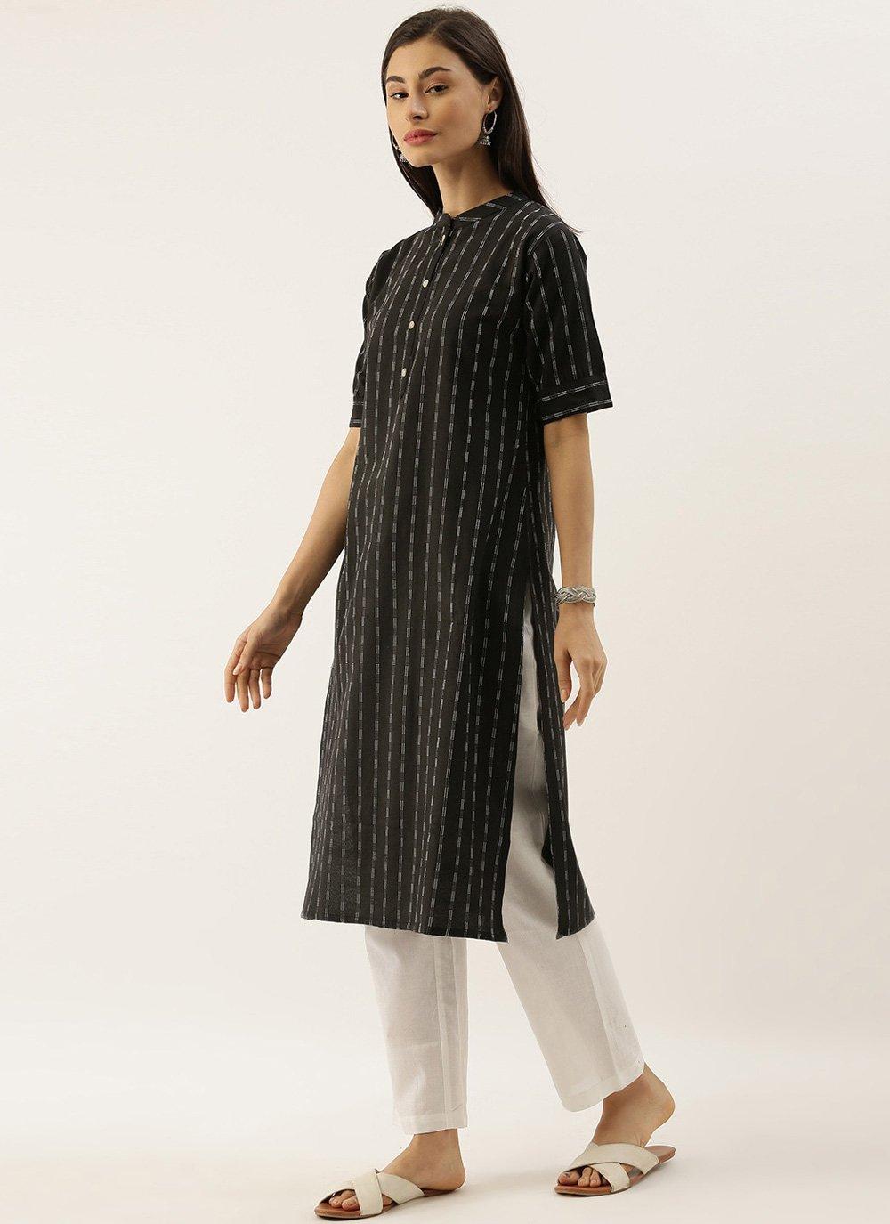 Black Printed Cotton Party Wear Kurti