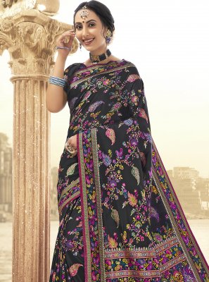 Black Printed Engagement Saree