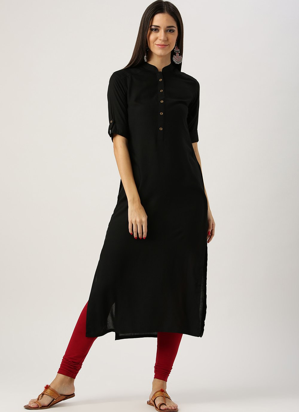 Black Rayon Festival Party Wear Kurti
