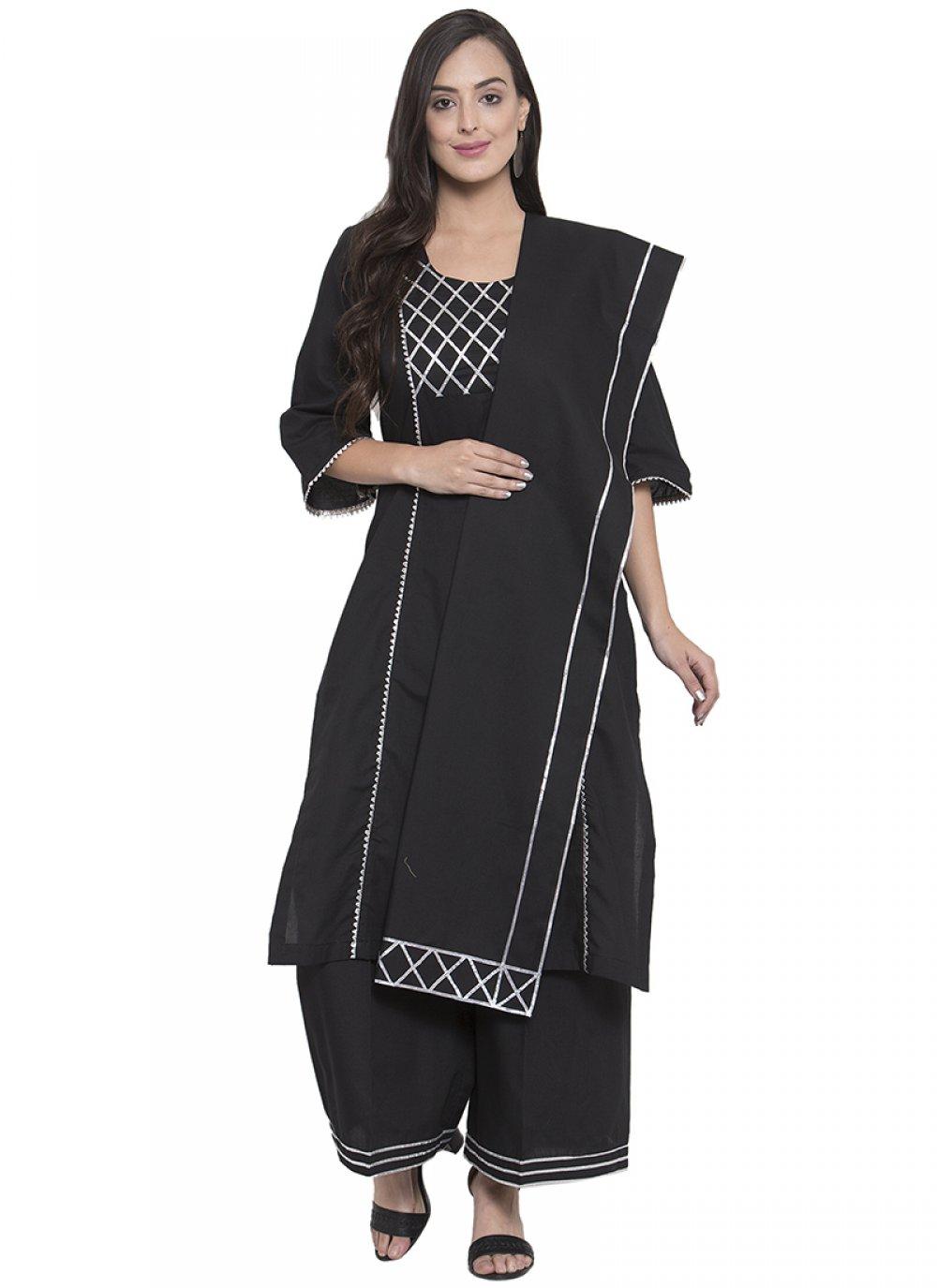 Black Rayon Salwar Kameez