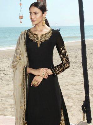 Black Reception Faux Georgette Salwar Suit