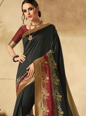 Black Reception Jacquard Silk Designer Saree