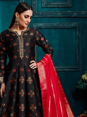 Black Reception Silk Anarkali Salwar Kameez
