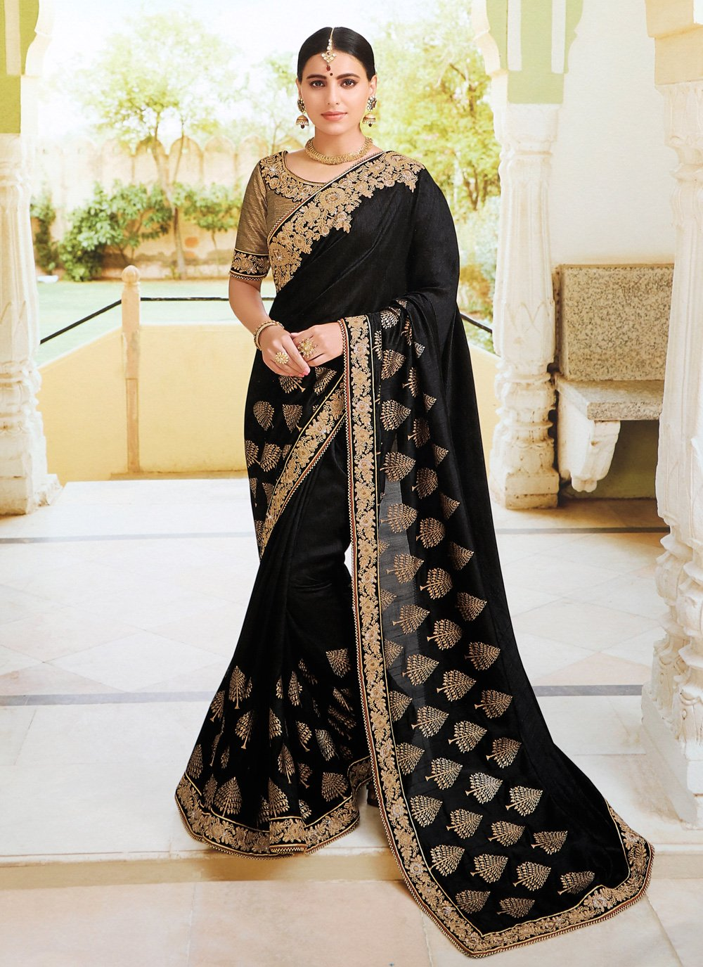 Black Reception Traditional Designer Saree