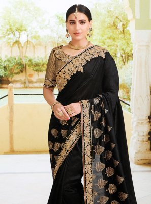 Black Reception Traditional Designer Saree