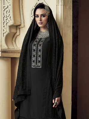 Black Reception Trendy Palazzo Salwar Kameez