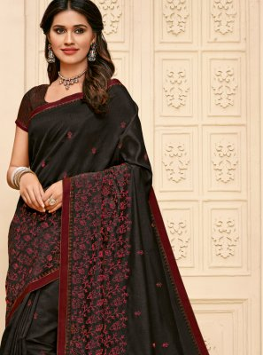 Black Resham Casual Saree
