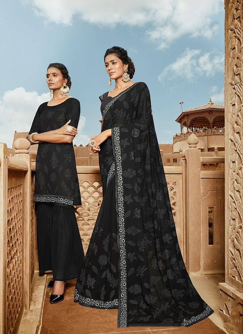 Black Resham Classic Designer Saree