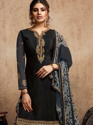 Black Resham Party Patiala Salwar Kameez