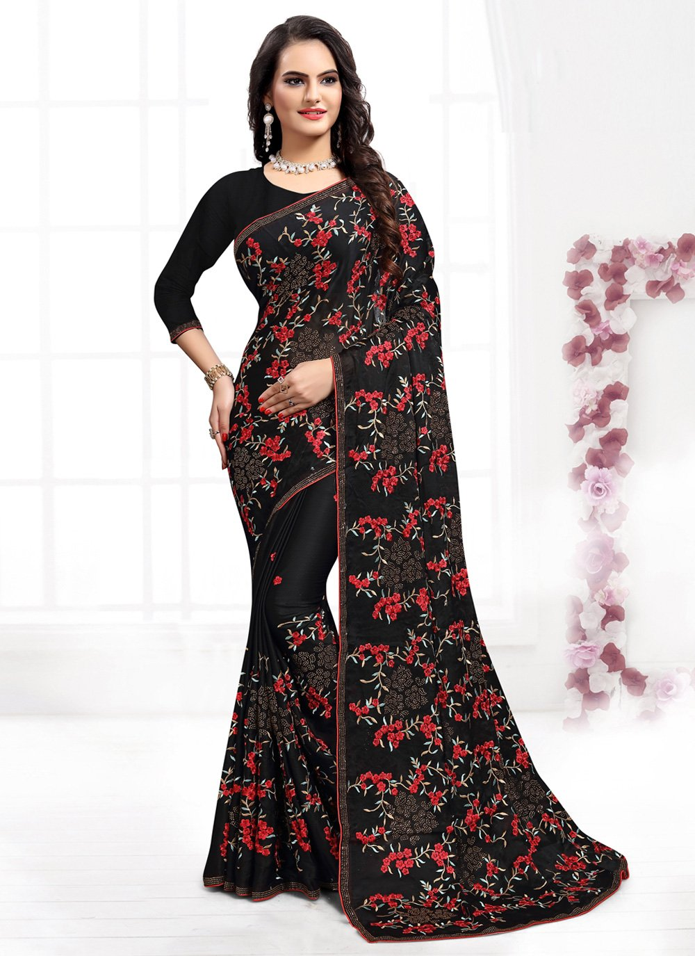 Black Resham Wedding Bollywood Saree