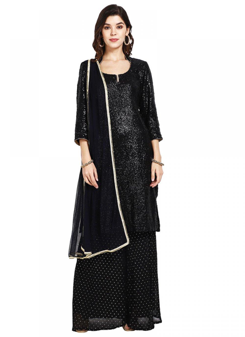 Black Sequins Designer Pakistani Suit