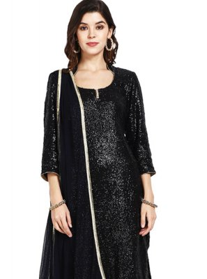 Black Sequins Designer Pakistani Suit