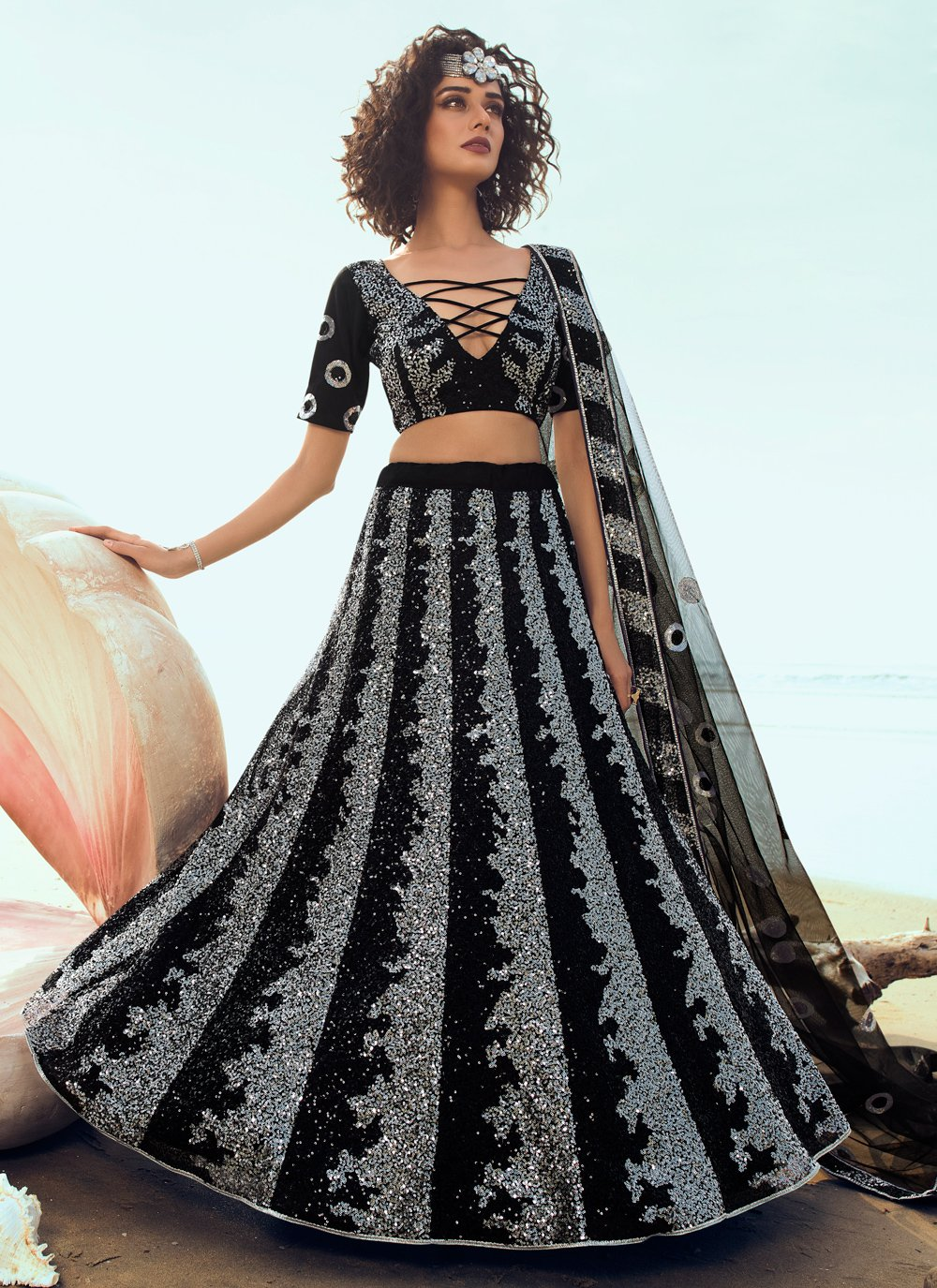 Black Sequins Net Trendy Lehenga Choli