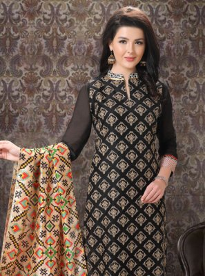 Black Silk Designer Suit