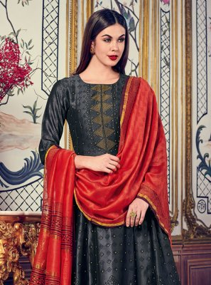 Black Silk Digital Print Salwar Kameez